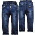 3943 маленьких отверстия тощий Карандаш брюки темно-синий мальчик джинсы детские брюки весна и осень брюки детская одежда упругой