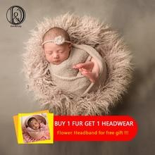 D&J Newborn Photography Props Soft Baby Fur Blankets Faux Background Cute Infant Kids Fotografia De
