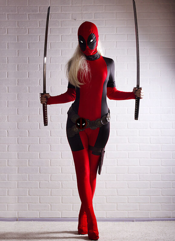 (DP916) Lady Deadpool Costume Pattern Lycra Spandex Unisex Fetish Zentai Suits Superhero Cosplay Halloween Party Costume