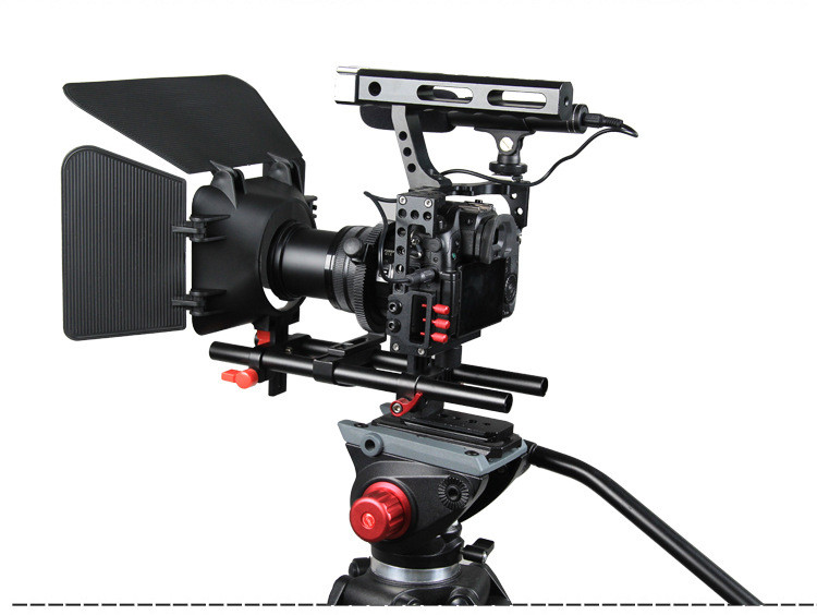 DSLR RIG MOVIE KIT SHOULDER MOUNT Matte Box  Follow Focus Cage for Sony A7 II A7r A7s for Panasonic GH4 Cameras Video Camcorders new professional dslr rig shoulder mount