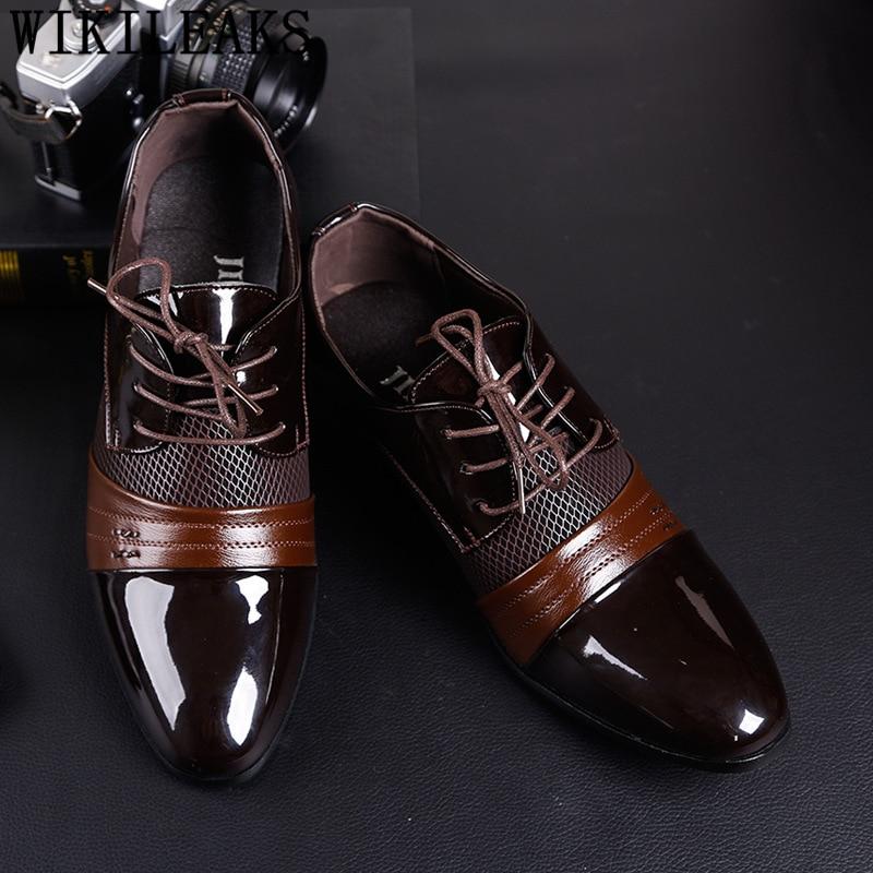 Oxford Shoes Men Elegant Italian Wedding Shoes Men For 2020 Coiffeur Brown Dress Formal Shoes Men Classic Brand Big Size Zapatos
