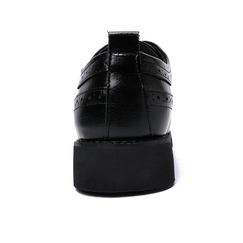 Sapatos Oxfords Do Couro Preto Formal Brogue Marca De Negócio Homens Dxkzmck Da Para Britânica Vestido marrom Dos 4ExvTIwq