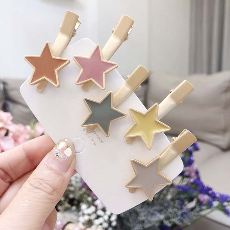 Korea Women Girl Hairpins Gold Star Hair Clip Barrette Delicate Crab Clips Morandi Color Hair decoration Jewelry Accessories M34 in Hair Jewelry from Jewelry Accessories