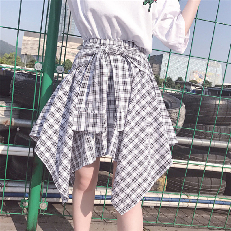 Spring Summer Women Asymmetrical Plaid Skirt High Waist Bow Belt Skirt Lace-Up Elastic Fashion Skirt