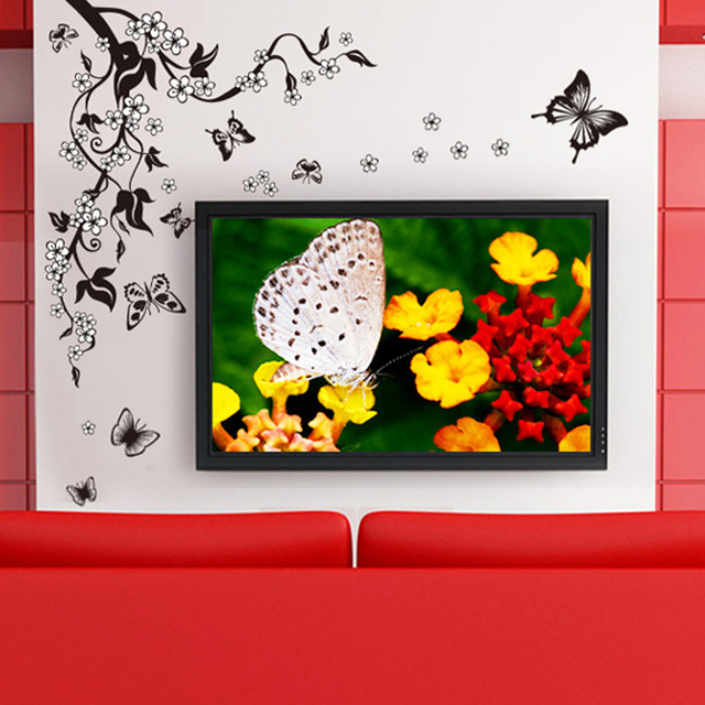 Fashion Romantic Flower Wall Sticker Art Decal background decoration Wall Stickers Home Decor butterfly 3D Wallpaper on the wall 3