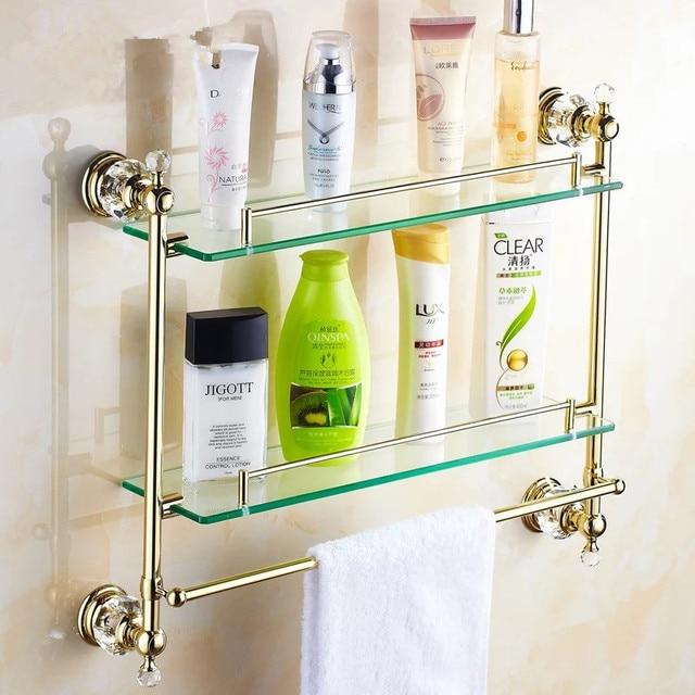 Gold Crystal Bathroom Shower Glass Shelf Bath Shower Shelf Corner Rack Gold  Shower Holder Bathroom Shelf