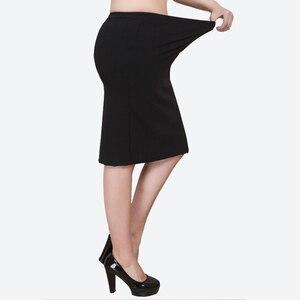 XL-8XL Plus Size Women Summer Skirts Casual Black Large Size Office Ladies Work Skirt Faldas 6XL 7XL Stretch OL Skirt Clothings(China)