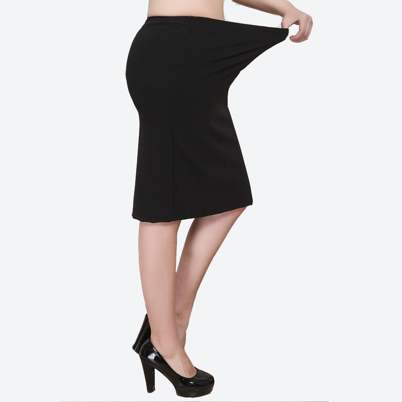 XL-<font><b>8XL</b></font> Plus Size Women Summer Skirts Casual Black Large Size Office Ladies Work Skirt Faldas <font><b>6XL</b></font> <font><b>7XL</b></font> Stretch OL Skirt Clothings image