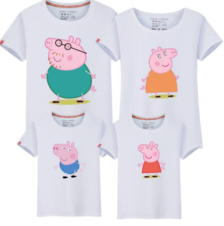 Family Look 2018 Summer Clothing Pig Print Mother Daughter T Shirt Family Matching Outfits Father Son T-shirt Kindergarten class
