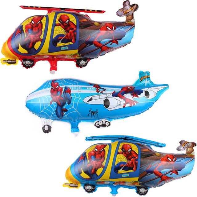 1 pc Avião Helicóptero Balões Folha Spiderman Herói Tema de Ar hélio Balões Festa de Aniversário Do Bebé Decoração Kds Brinquedos Presente