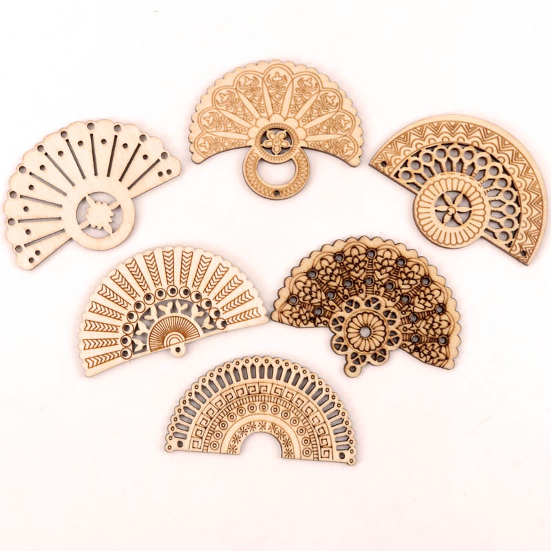 Handmade Wooden Crafts Home Decoration Scrapbooks Jewelry Make Earrings DIY Mix Chinese Style Retro Fan Wood Ornaments 65mm 6pcs