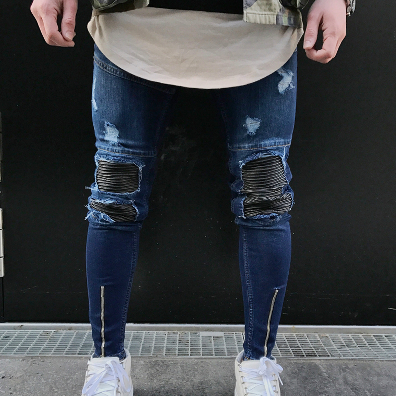 Ripped Biker Jeans Mens Retail High Quality Skinny Jeans Big Hole In Knee Pants Thigh Ankle Zipper Hip Hop Motorcycle Trousers