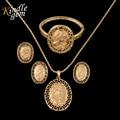 Bracelcet Moneda de Oro Colgante Collar Pendiente de la manera De la Mujer Del Partido de La Boda Conjuntos de Joyas de Oro Dubai Plateado Bijoux