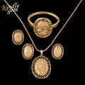 Fashion  Gold Coin Pendant Necklace Earring Bracelcet Set For Women Party Wedding Jewelry Sets Dubai Gold Plated Bijoux