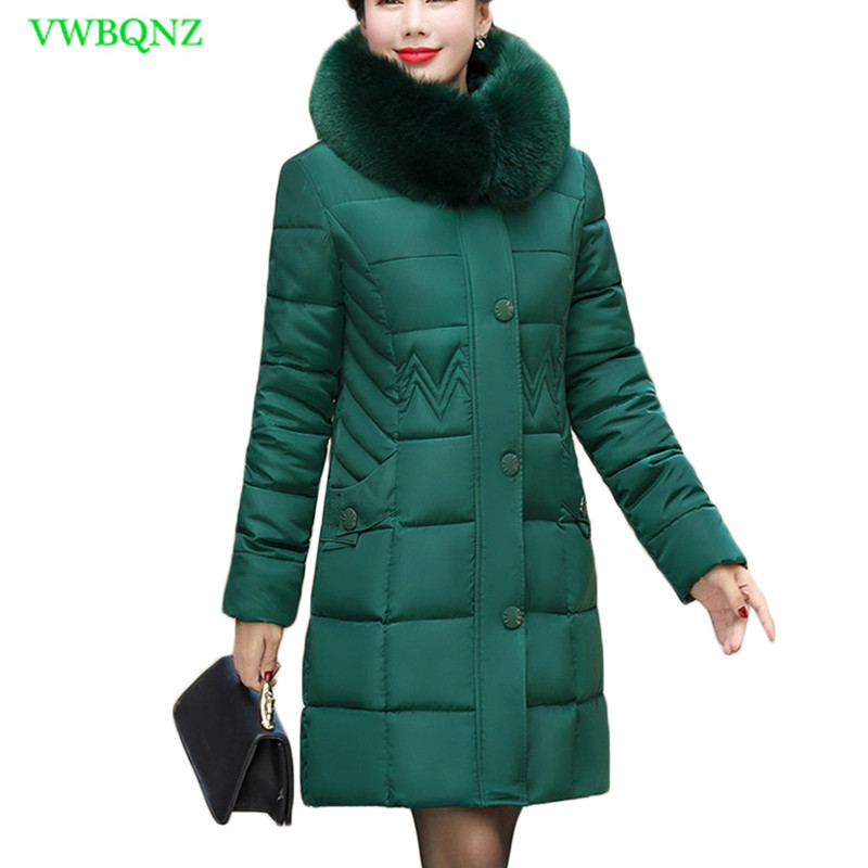 New Winter Jacket Women Long Down cotton jacket Women   Parka   Big Fur Collar Hooded cotton Coat Womens Jackets Coats Outerwear A93