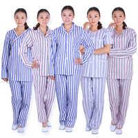Patient Gowns Sick Service Medical Uniforms Nursing Stripe 100%Cotton Hospital Hospitalization ill Long sleeve Clothing Pant Set