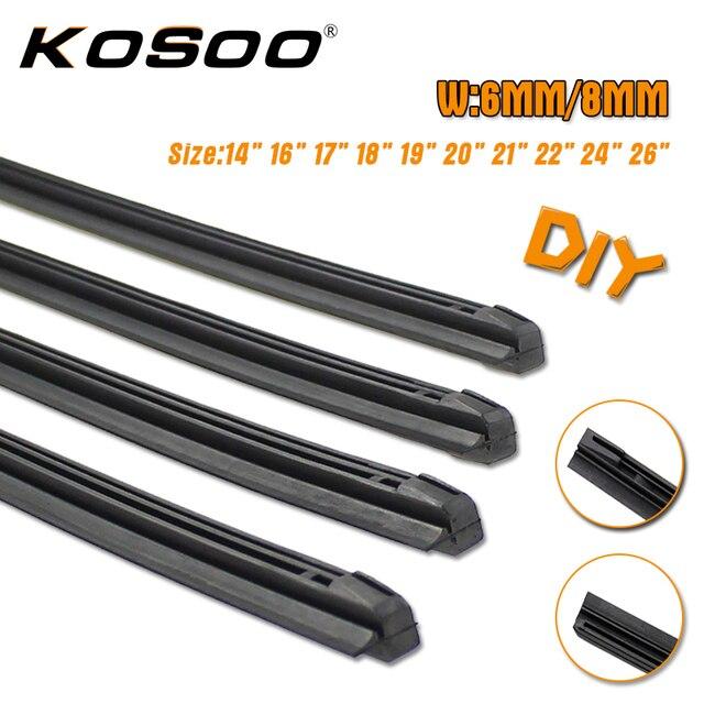"""Kosoo 8mm 6mm 14 """"16"""" 17 """"18"""" 19 """"20"""" 21 """"22"""" 24 """"26"""" 28 """"diy car windscreen limpador lâmina tira de substituição, 3 seção de borracha 1 pc"""