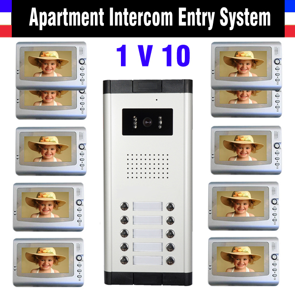 Apartment Intercom System 7 Inch 10 Units Apartment Video Door Phone Intercom System Video Intercom DoorPhone Video Doorbell штангель циркуль цифровой shanggong 0 150 200 300 500