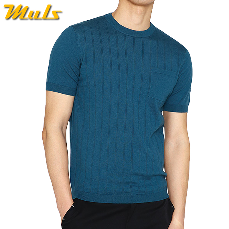 Knitted T shirts men short O-neck summer male Tshirts quality Brand knitwear shirts man large size Green Black Gray White 7642