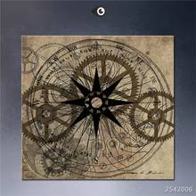 Steampunk Art Print Wall Poster Static_steampunk-Gold-Gears-James-Christopher-Hill Painting Printed On Canvas gift Landscape