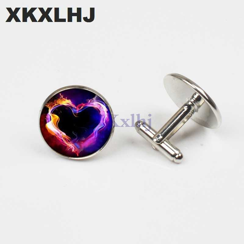 XKXLHJ New Burning Cuffs Heart-shaped Buttons Luminous Photos Fashion Men  And Women Shirt Cuffs Quality Wholesale