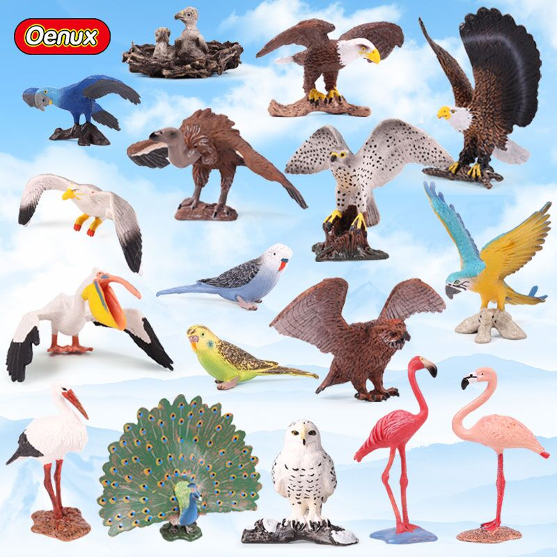 Brave Oenux Kawaii Simulation Birds Parrot Flamingo Eagle Miniature Model Bird Figurine Solid Pvc Action Figures Toy For Kids Gift Smoothing Circulation And Stopping Pains