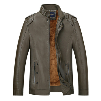 2018 New Men PU Leather Jackets Casual Thick Stand Collar Faux Leather Jackets Outwears Autumn Winter Male Fleece PU Coat FP1667