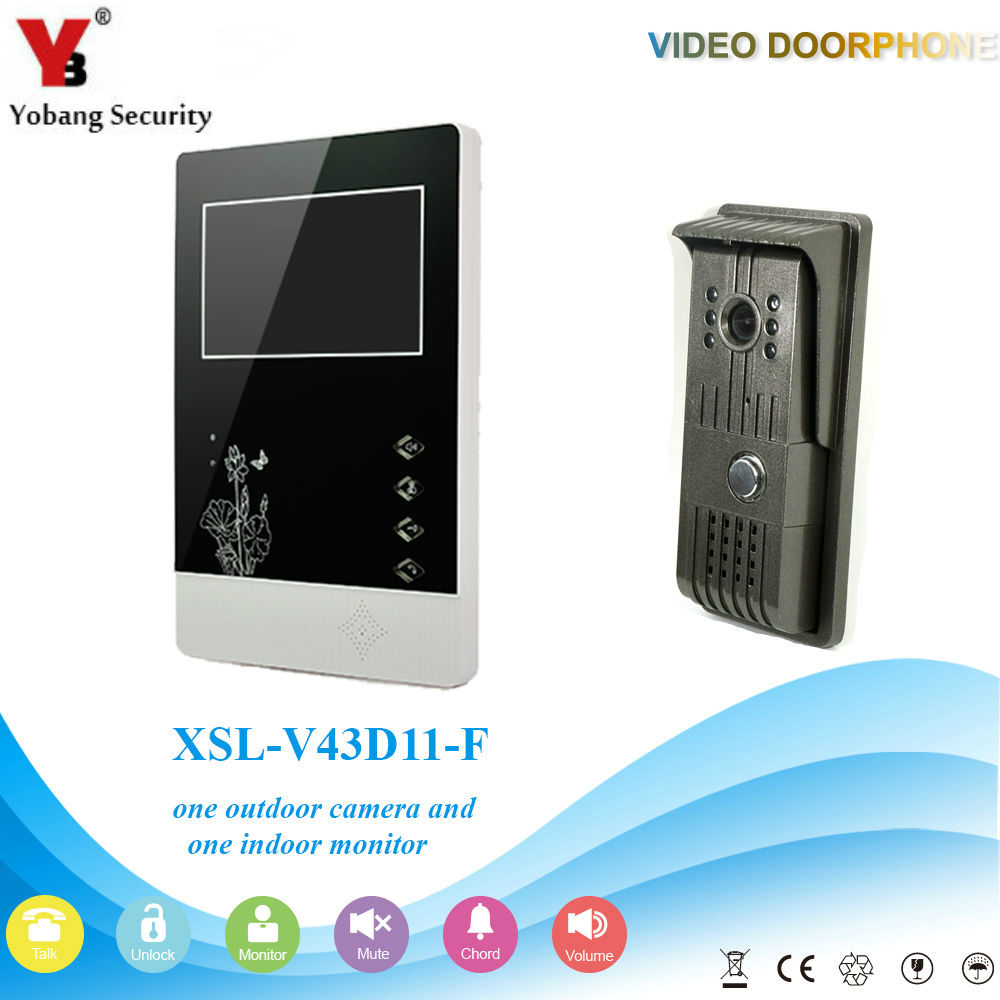 YobangSecurity Wire Video Door Phone Intercom System 4.3Inch Color Monitor IR Camera Video Intercom Doorbell Kit For Apartments yobangsecurity 7 inch wire video door phone doorbell intercom system waterproof outdoor camera with raincover intercom system