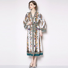 ARiby 2019 Early Spring New Gentlewomen Dress Office Lady Printed A-Line  Mid-Calf V-Neck Long-Sleeve Lace Loose Loin Dresses