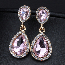 High Quality Fashion Wedding Accessories Jewelry for Bridal Gold/Silver Plated Charm Crystal Water Drop Dangle Earring for Women