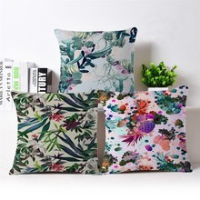 High quality Beautiful Creative tropical plant printing Cushion cover 45X45cm gift Decorative home sofa car office Pillow case