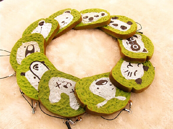New squishy Toys Licensed package 8cm green tea animal toast Slices squishies Wholesale Strap Charm free shipping hot 20pcs/lot