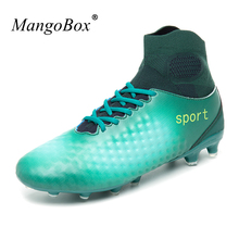 Sport Shoes Soccer Men Kids Original Football Boots Anti-slip Cleats With Sock High Ankle for
