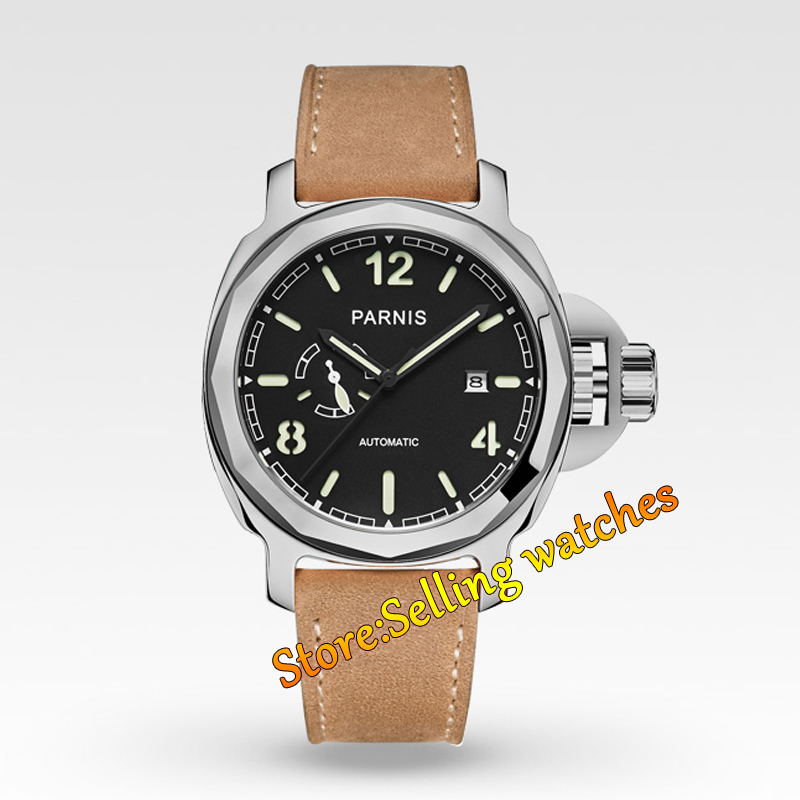 Parnis 44mm Sapphire glass polish steel case black dial Miyota Automatic Mechanical Mens Watch цена
