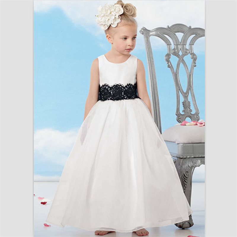 37b82d012ac White Satin Flower Girl Dresses For Weddings Ankle Length Kids Evening Gown  black Bow Lace Pageant Dresses For Little Girls 2017