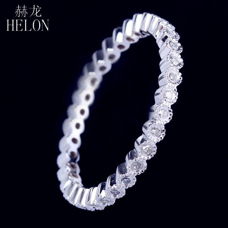 HELON simplement superbe Pave 0. 2ct vrais diamants naturels en argent Sterling 925 anneau bande femmes Art déco bijoux fins bague de mariage