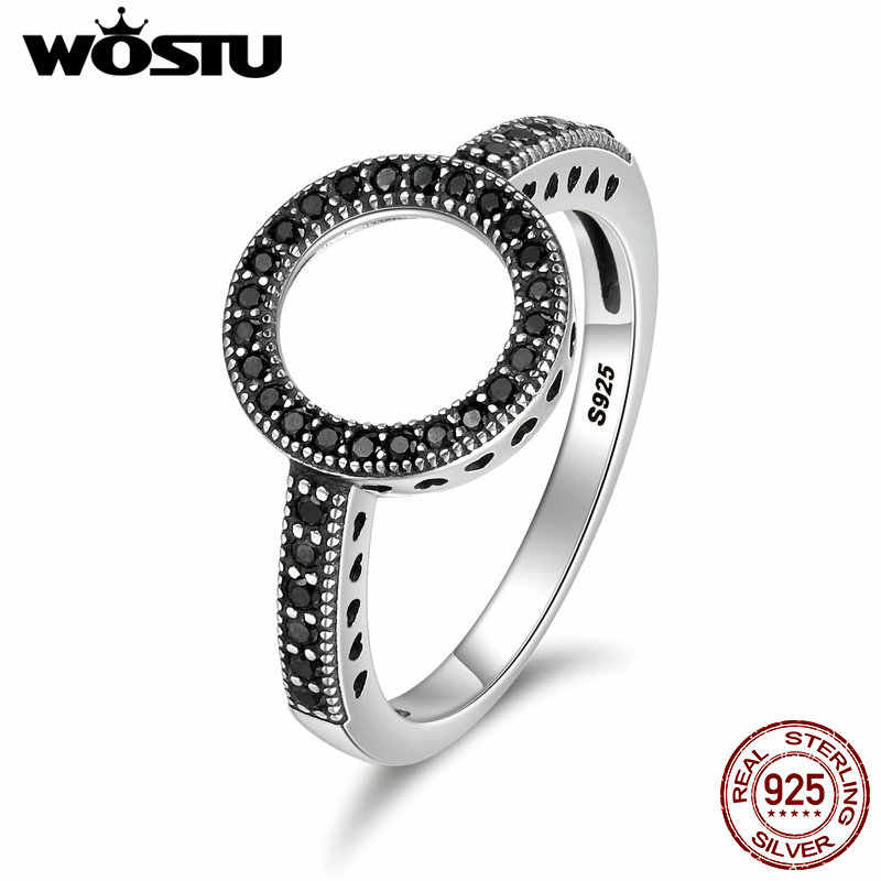 WOSTU 2019 Hot Sale Real 925 Sterling Silver Lucky Circle Finger Rings For Women Fashion Jewelry Gift Dropshipping CQR041