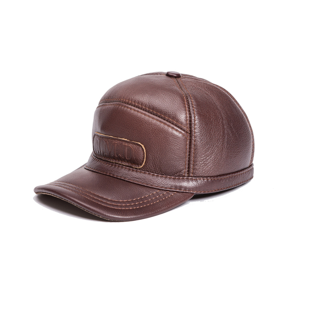 Real Natural Cowhide High quality Genuine Leather hat genuine winter hat baseball cap adjustable for men hats Free Shipping genuine leather peak baseball cap hip hop hats men s winter outdoor thick warm ear protection hat elderly leather cap b 7206