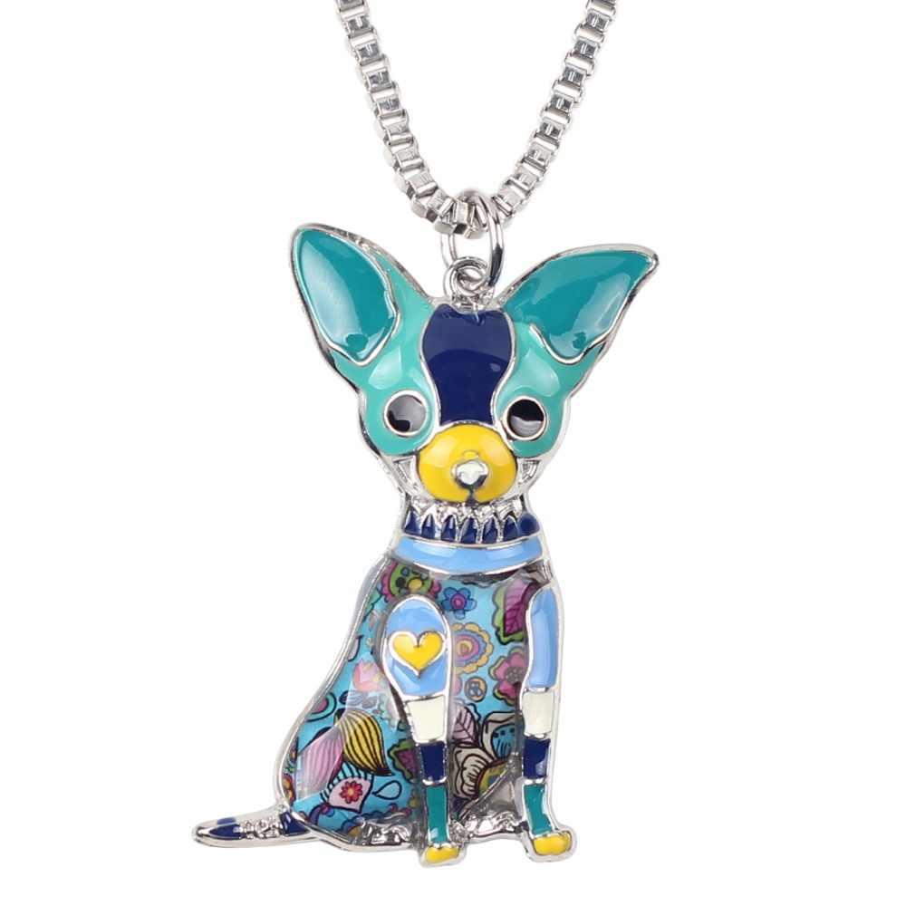 Déclaration WEVENI assis Chihuahua chien collier pendentifs Souvenir émail collier chaîne nouvelle mode animaux bijoux pour les femmes