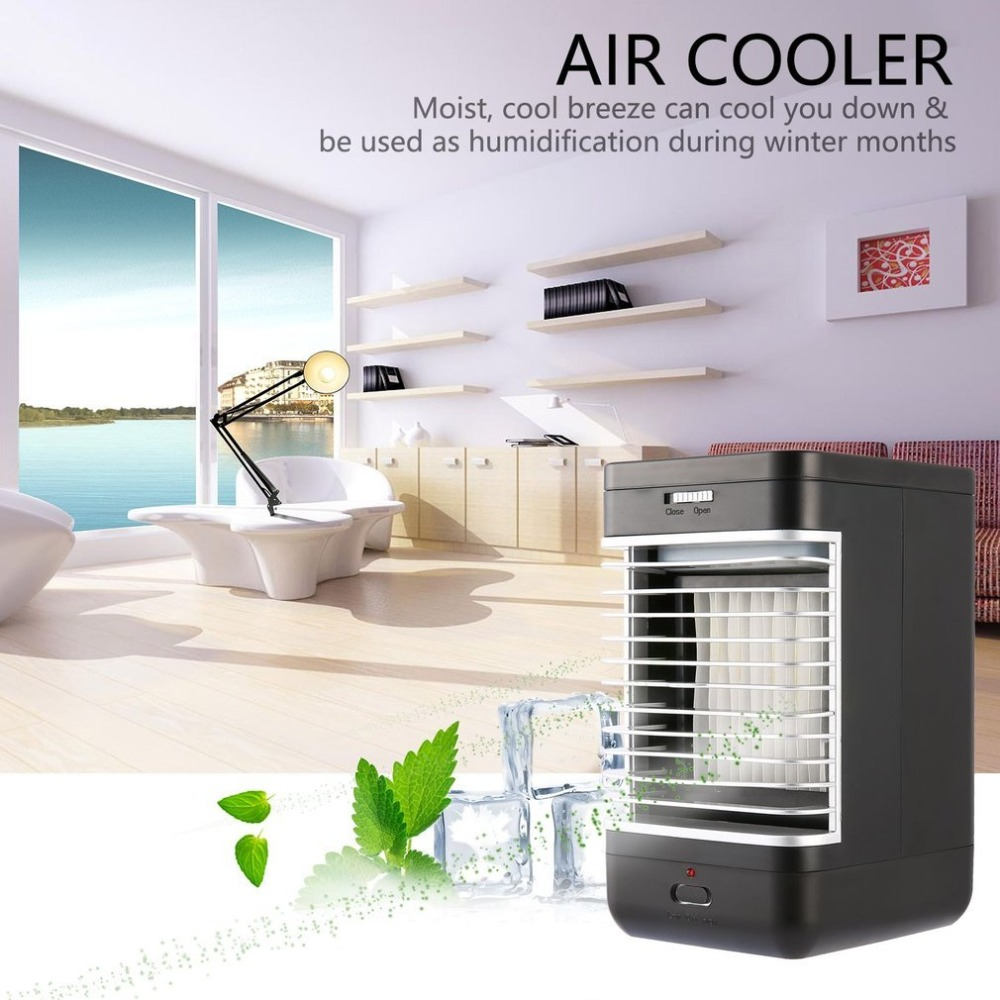 Evaporative Air Conditioner Air Cooler Fan Indoor Portable Cool Down Humidifier Battery Operated Quiet 2 Speed Air Cooling Fan universal dc 12v evaporative air conditioner 35w black portable mini cooling conditioner water evaporative car air fan