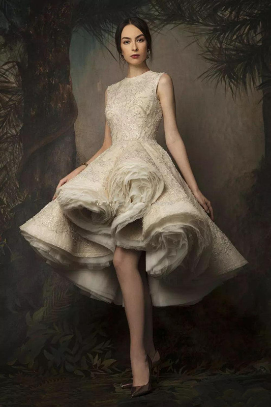 Dlass Krikor Jabotian High Low Prom   Dresses   2019 Jewel Neck Lace Sequined Evening Gowns Sexy Women Formal   Cocktail     Dress