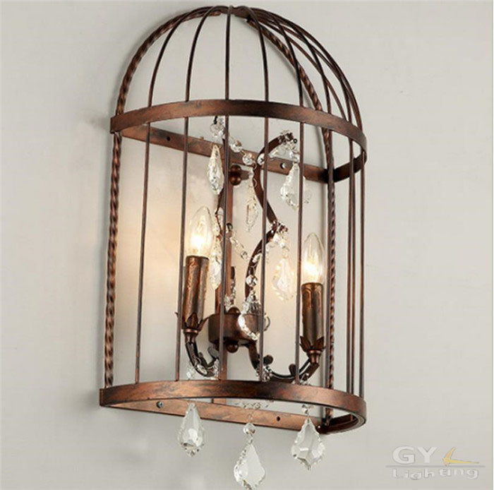LOFT American country bedroom bedside aisle Industrial wrought iron bird cage Crystal Wall lamp nostalgic rustic sconces lights glass american retro vintage wall lamp bedroom aisle style loft industrial wall lights fixtures rustic sconces aplik lamba