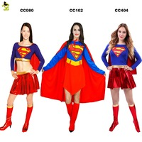 QLQ Adult Supergirls Wonderwomen Costume Women's Sexy Superhero Halloween Cosplay Party Fancy Dress Superhero Costumes