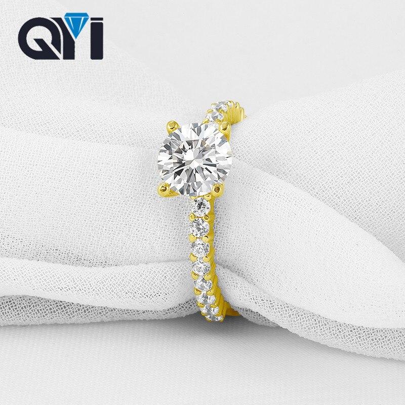 QYI nouveau produit 14 K solide bague en or jaune bague de mariage classique ronde coupe Zircon pour les femmes demoiselle d'honneur cadeaux bijoux