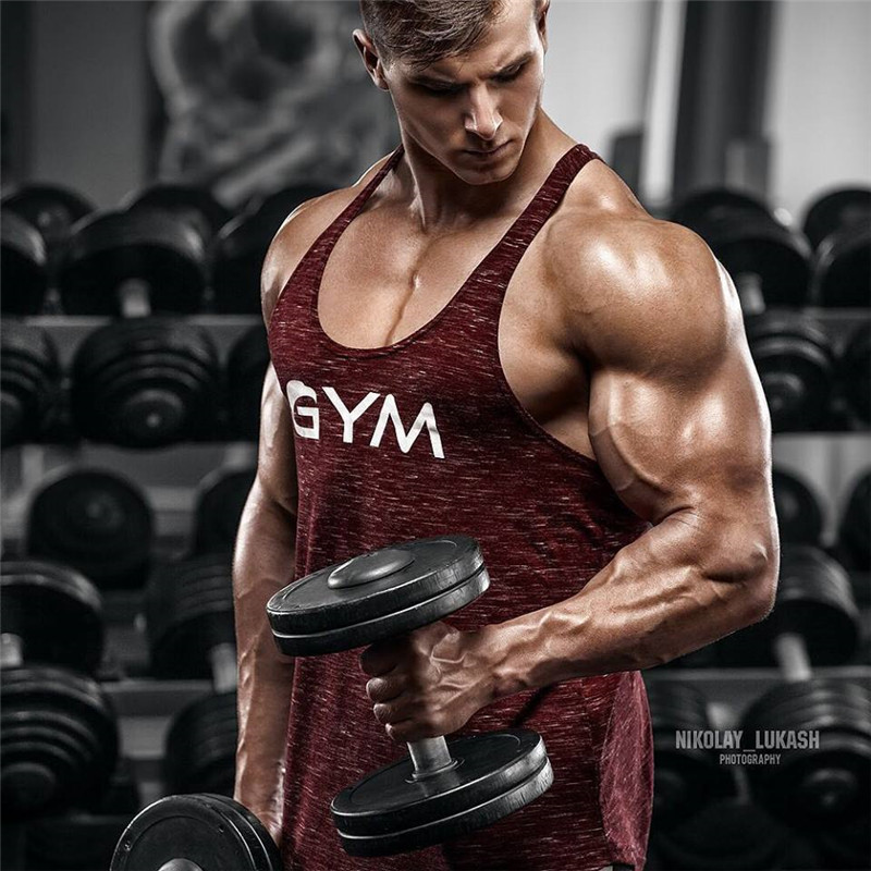 2018 men gyms tank top summer sleeveless fitness workout muscle shirt sexy bodybuilding clothes tanktop vest SIZE M-XXL