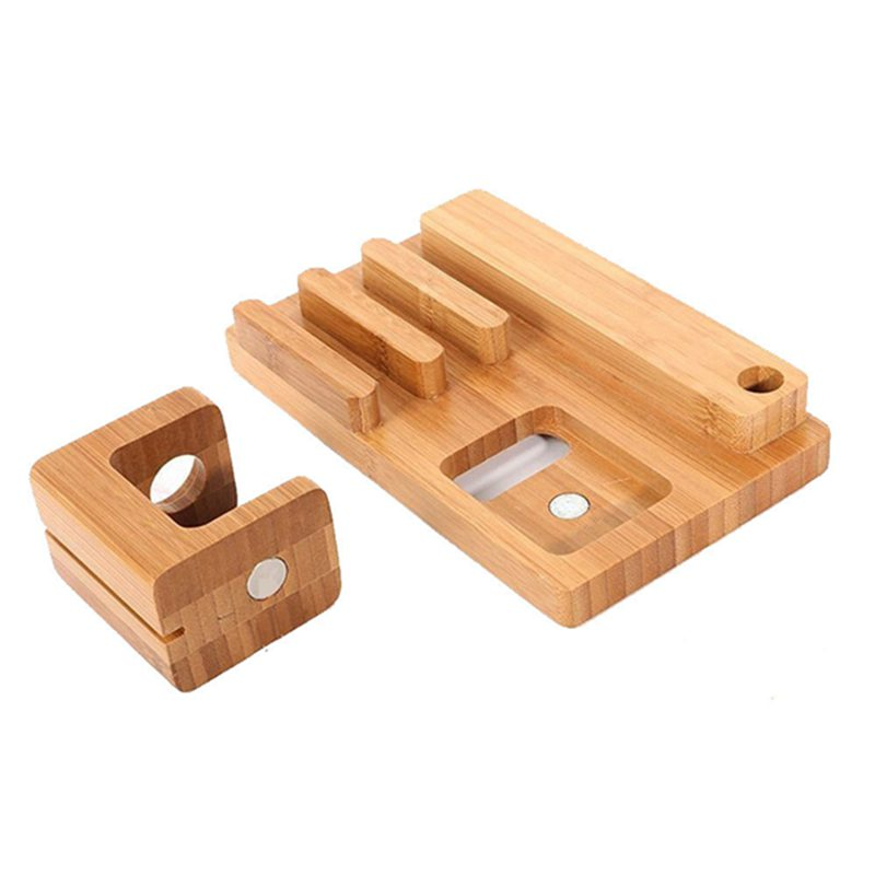 Multifunctional Bamboo USB Charging Dock/Holder for Apple Watch iPhone iPad 25