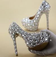 Plus Size 13 Silver Crystal High Heel Pumps 16CM Platform Bride Wedding Party Dress Shoes For