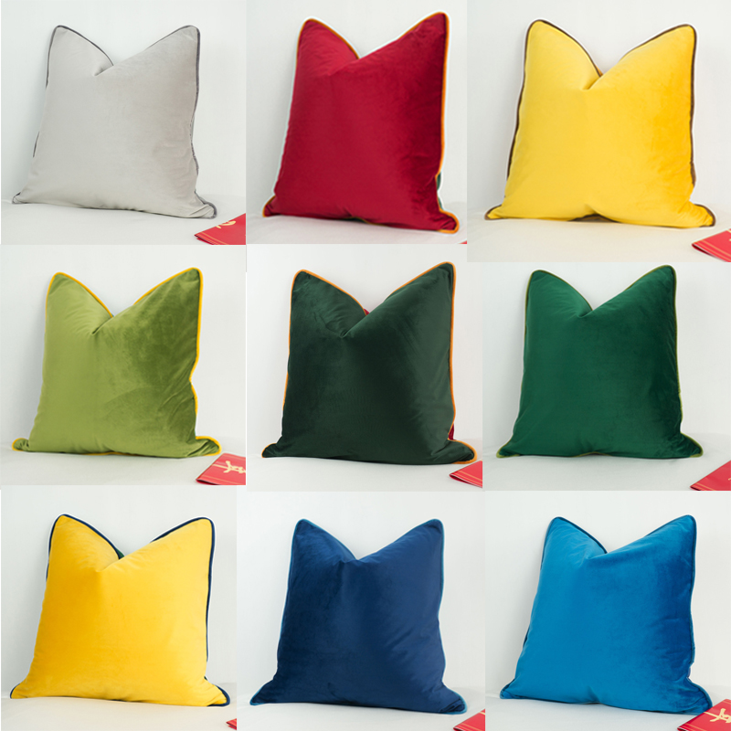 Fantastic Us 9 43 20 Off 3 Colors Stitching Velvet Cushion Cover Green Red Yellow Blue Gray Piping Sofa Chair Pillow Case No Balling Up Without Stuffing In Machost Co Dining Chair Design Ideas Machostcouk