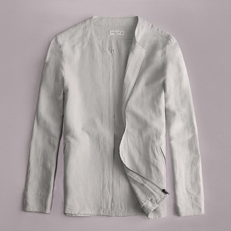 이탈리아 스타일 단순한 패션 참신 긴 소매 라운드 칼라 자켓 남성 리넨 코튼 봄 브랜드 의류 남성 자켓 Jaqueta jas