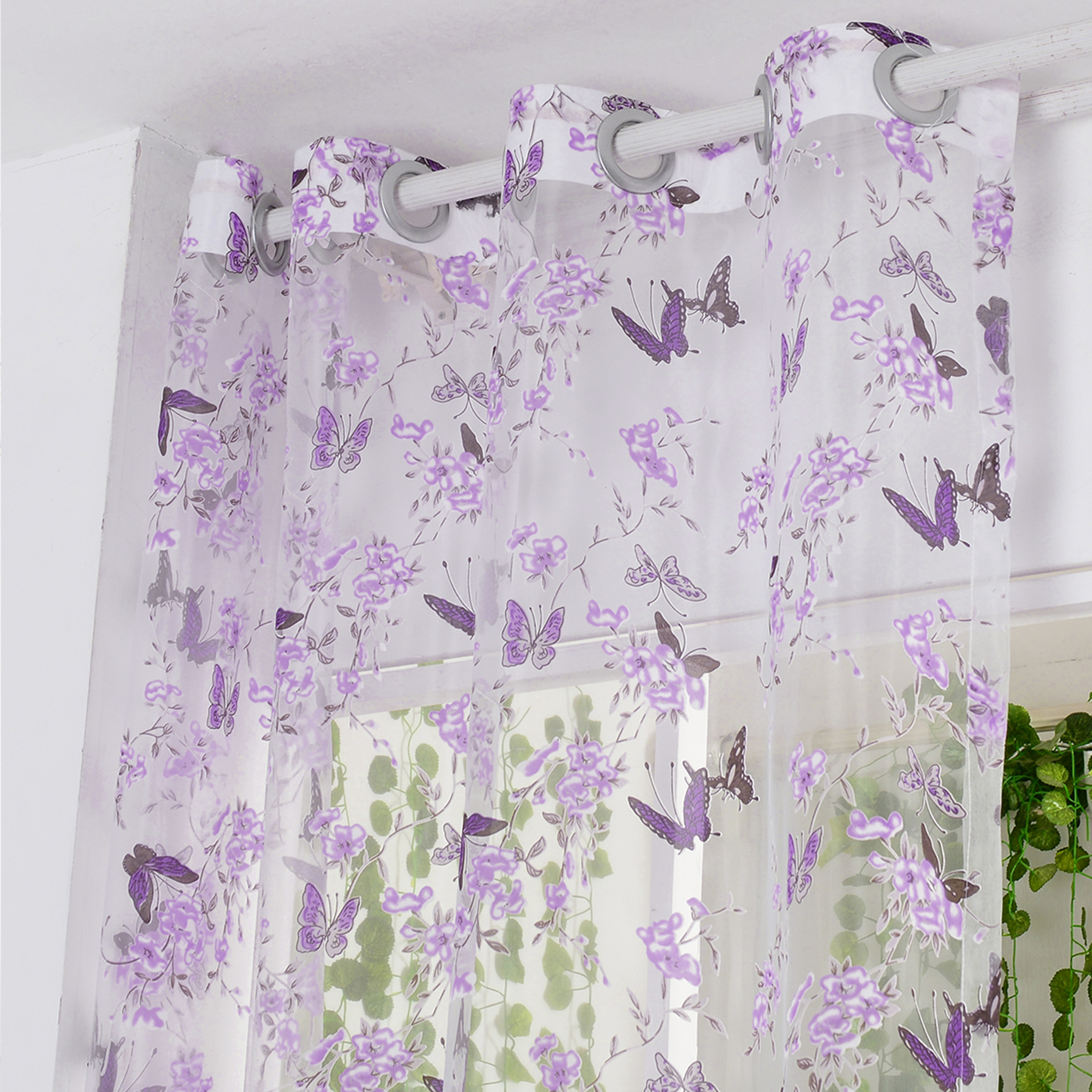 Fabric Black Picture More Detailed Picture About Isinotex Window Curtain Purple Butterfly